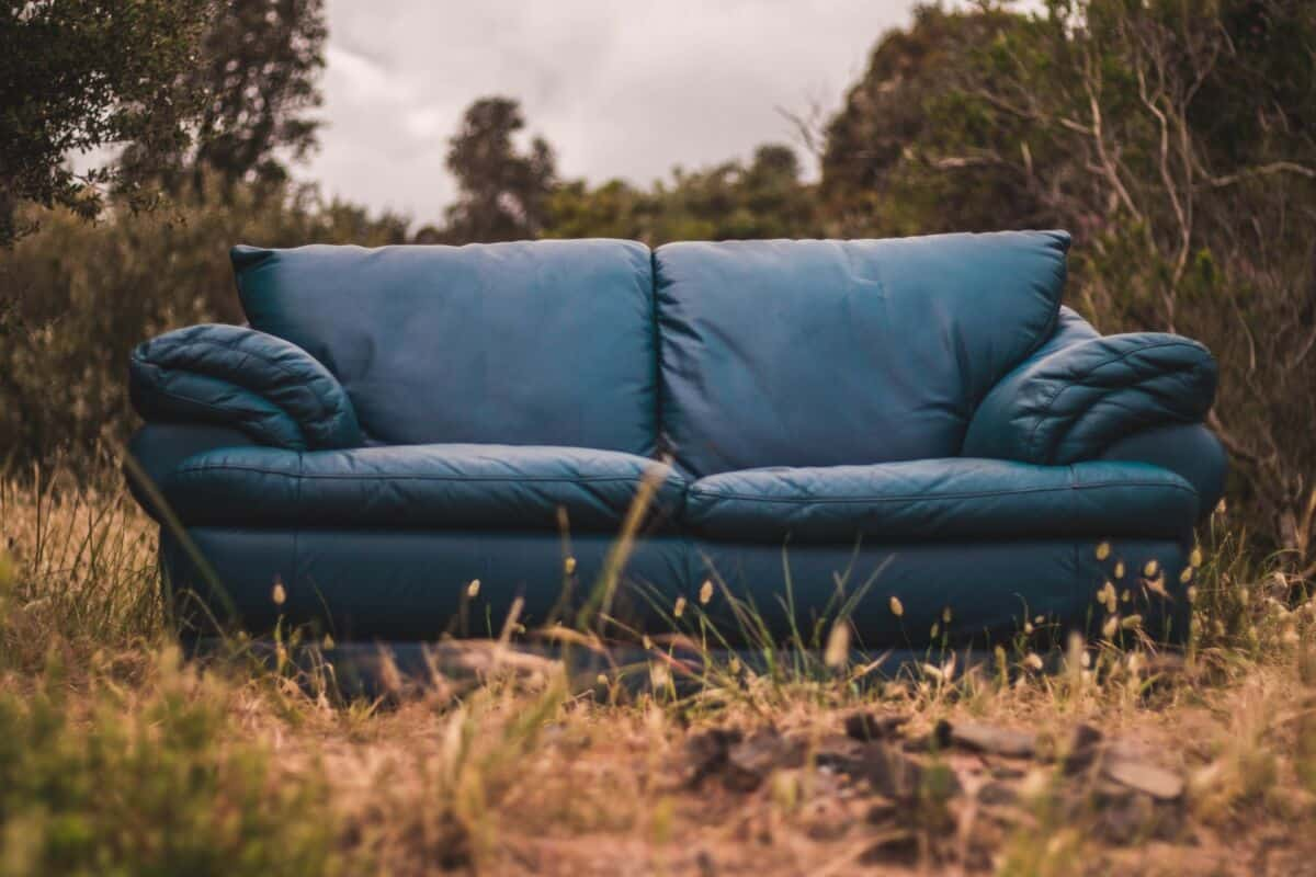 a couch on the ground