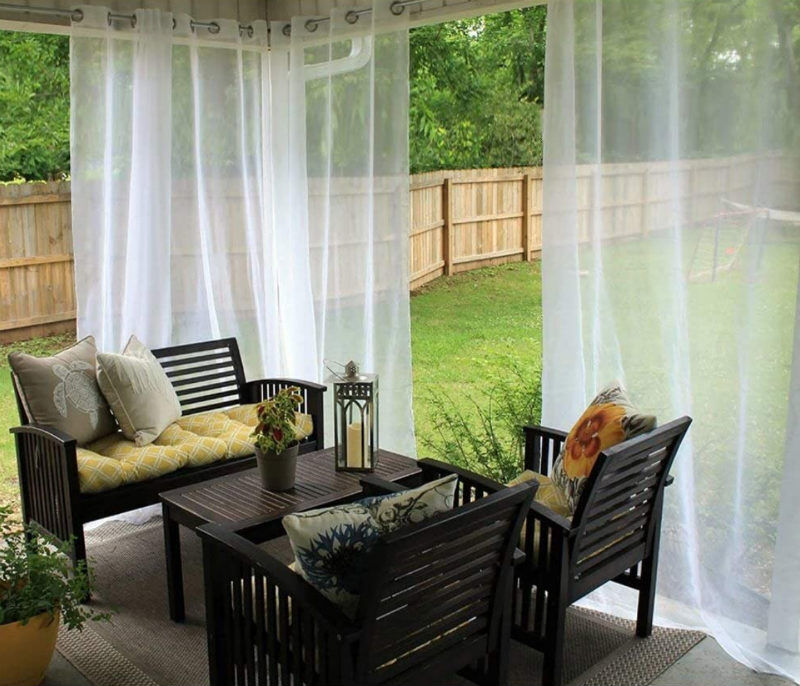 mosquito curtains for a balcony or deck